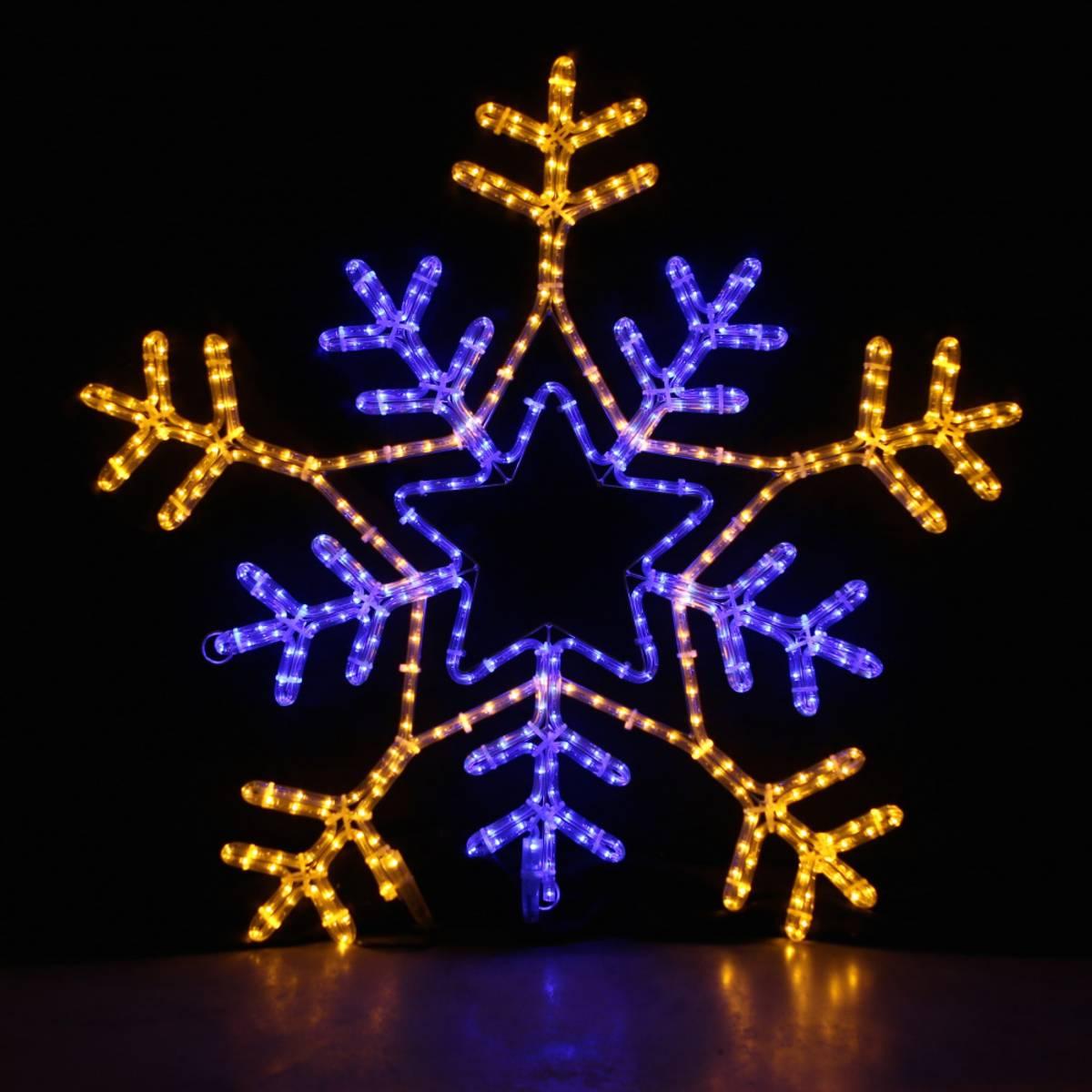 Snøfnugg 90x90 cm med 7 ulike program. Varmhvit og blå