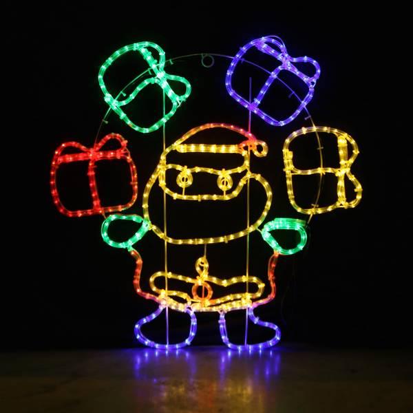 Bilde av Julenisse med blinkende julegaver 85x83 cm